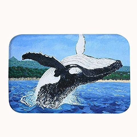 warrantyll Corallo Pile pittura Jumping Balena in acqua resistente da bagno zerbino tappeto tappeto zerbino, #04, 16