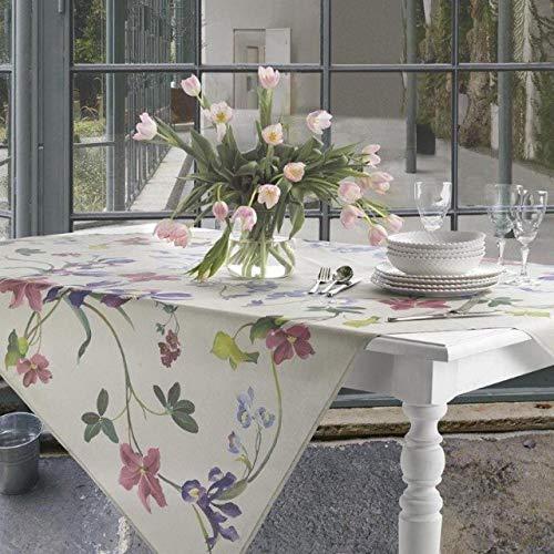 Tovaglia da tavola senza tovaglioli in panama di cotone 100% stampa digitale Vallesusa Casa art. June dis.18996 (150x270 rett. per 12)