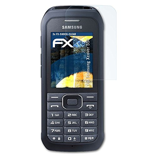 atFolix Schutzfolie kompatibel mit Samsung Xcover 550 Panzerfolie, ultraklare & stoßdämpfende FX Folie (3X)