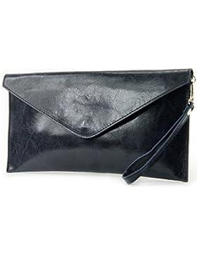 modamoda de - ital. Ledertasche Clutch Unterarmtasche Abendtasche Damentasche Handgelenktasche Glattleder T106G