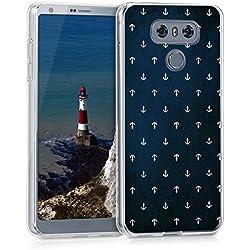 kwmobile Funda para LG G6 - forro de TPU silicona cover protector para móvil - Case Diseño Anclas blanco azul oscuro