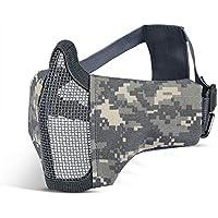 Kuyou Airsoft Máscara Ajustable de Malla de Acero con protección para los oídos y Gafas UV400 para Caza, Pintura, Tiro, Camouflage1