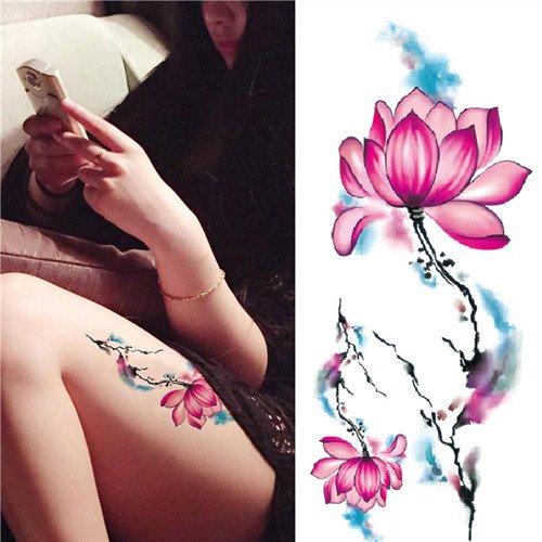 1 Pc Tatouages Ephémères Tattoos Temporaires Imperméables Lotus DIY Dessin