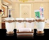 Yiyida Retro 5-teilig Badezimmer Set: Seifenspender Zahnb¨¹rstenhalter Zahnputzbecher Seifenschale f¨¹r Hotel & Hause ,Weiss