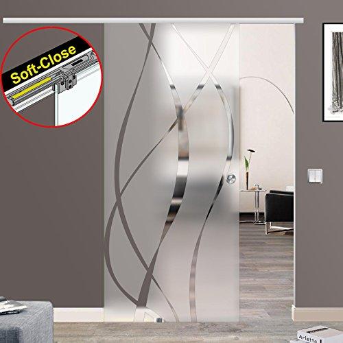 BM6-900-ASE: Schiebetürsystem ESG 900x2050x8mm Dekor M6, Siebdruck; Schienensystem ALU SlimLine SoftClose; Griffmuschel -