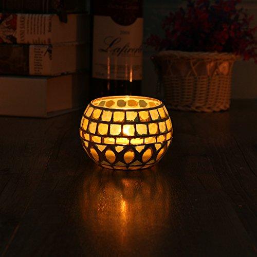 KING DO WAY Mosaic Glass Candle Holder Light Handle Tealight Candleholder Lantern Lamp Chimney Square