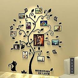 Asvert Stickers Autocollants Muraux Amovibles 3D en Acrylique Arbre avec des Branches Incurvées et des Cadres de Photo(Feulles Noires)