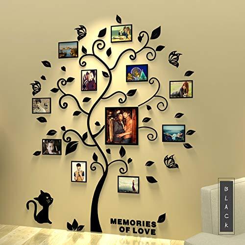 Asvert Adesivi da Parete in Acrilico Stile Albero con Cornici da Foto (Nere foglie)