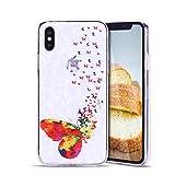 Anfire Coque iPhone X, iPhone 10 Housse Etui Papillon coloré Pochette Coque Silicone...