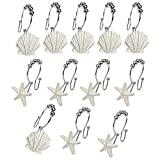 VAlink 12Pcs Shower Curtain Hooks, Ocean Beach Seashell Starfish Curtain Hooks, Curtain Hanging Hooks, Rings Steel Curved Shower Curtain Hooks,Bathroom Hooks Home Decoration