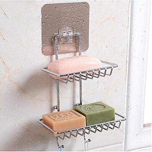 Regal für Wände Edelstahl Wand-Seifenbox Doppelschichtige Seifenbox Kreative Doppel Abtropfen Bad Bad Bad Regal WC Seifenschale Seifenhalter Doppelschichtiger Haken Seifenschale ra -