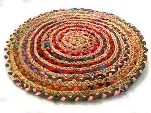 Second Nature Comercio Justo 90cm Redondo Trenzado Alfombra algodón Yute Alfombra Chindi