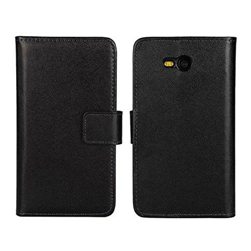 Lumia 820 Custodia,COOLKE [Nero] Flip Protettiva Custodia Moda PU Pelle Stand Custodia Case Cover Per (Pronto Basamento Della Bandiera)
