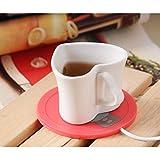 Kaffee-Wärmer (Cup nicht enthalten) USB-Kaffee-Isolierung Elektrischer Wärmer Silikon-Matte-Becher Behalten heißes Getränk-warmer, Computer-Kaffee-Wärmer-Tee-Wärmer (rot)