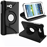 KANICT 360° Rotating 7' Inch Tablet Leather Front Back Book Flip Case Cover With Stand For Samsung Galaxy Tab 3V SM-T116 -Black