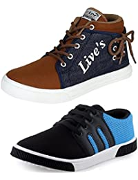 Tempo Men's Combo Pack Of 2 Sneakers (BR-1/LIVES)