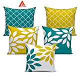#6: Aart stylish abstract leaf print cushion covers 16x16 set of 5 set of 5 Made of Exceptional Quality Polyester and Cotton Blend with Clear 3D Print for a Perfect Interior - Yellow & Green