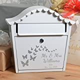 personalisiert Hochzeit- Briefkasten mit Name Datum und Schmetterlinge