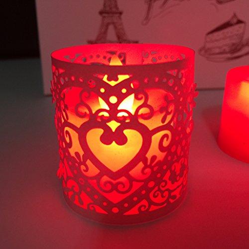 6pcs Corazon Llevado Boda Titulares De Luz De Te Decoracion De Navidad De Color Rosa