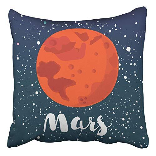 Cartoon Mars Globe Red Planet On Dark Space Star Globe Mars View Decor Pillowcases Polyester 18 X 18 Inch Square Hidden Zipper Home Cushion Decorative Pillowcase ()