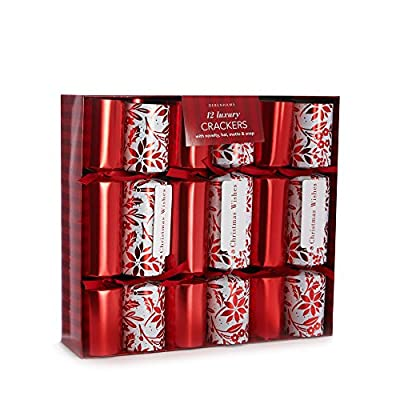 Debenhams Set Of 12 Holly Print Luxury Christmas Crackers - inexpensive UK light shop.