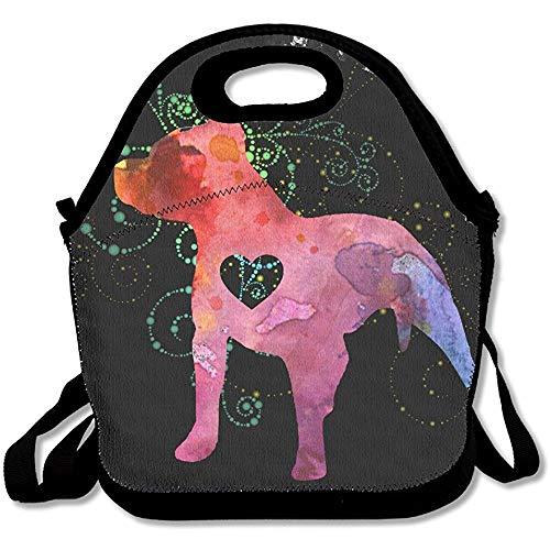 Pitbull Love Watercolor Zenï1°2 › Damen, Männer, Kinder, Mädchen, Jungen, Erwachsene, Lunchbox Tasche mit Schultergurt (Blau-gurt Für Pitbulls)