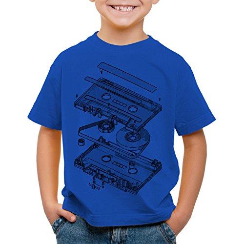 style3 DJ Tape Camiseta para Niños T-Shirt Turntable 3D MC, Color:Azul;Talla:104