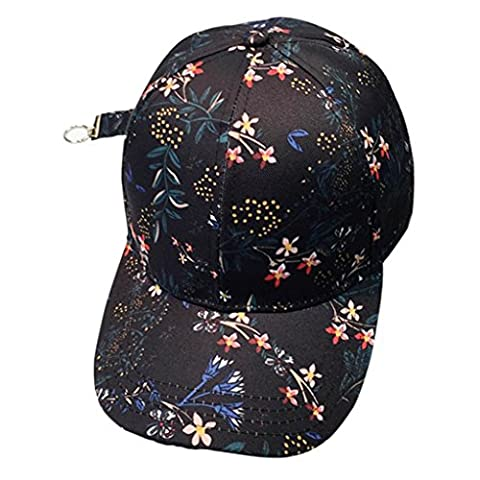 Casquettes De Baseball,OverDose Femme Homme Couple Applique Floral Base-Ball Cap Unisex Snapback Hip Hop Flat Réglable Chapeau