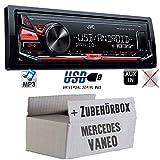 JVC KD-X141 - MP3 USB Autoradio - Android Steuerung - 4x50Watt - Einbauset für Mercedes Vaneo W414 - JUST SOUND best choice for caraudio