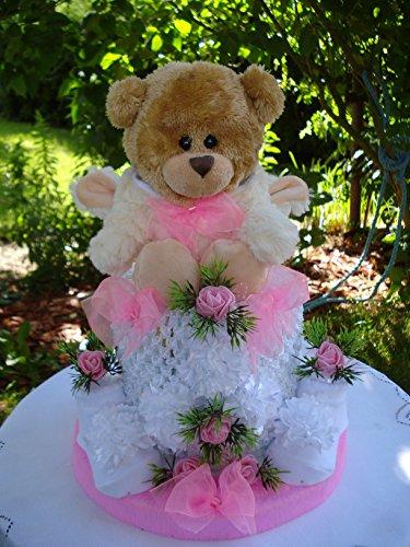 """Windeltorte""""Teddybär mit Kaputze""""Mini-Torte,rosa,Geburt,Taufe,Hochzeit"""