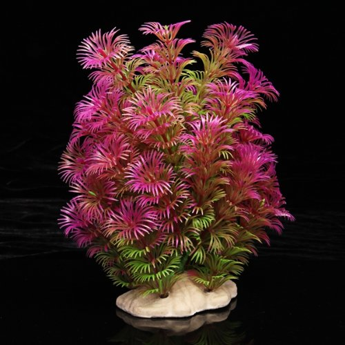 PIANTA ARTIFICIALE FINTA DECORAZIONE ACQUARI FUCSIA VERDE