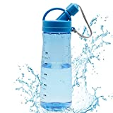Botella de Agua Botella Deportiva BPA Free 1 L Botella de Bebida Deportivan para Deportes, Fitness, Bicicleta, Fútbol, Botella de Fitness a Prueba de Fugas al Aire Libre, Azul