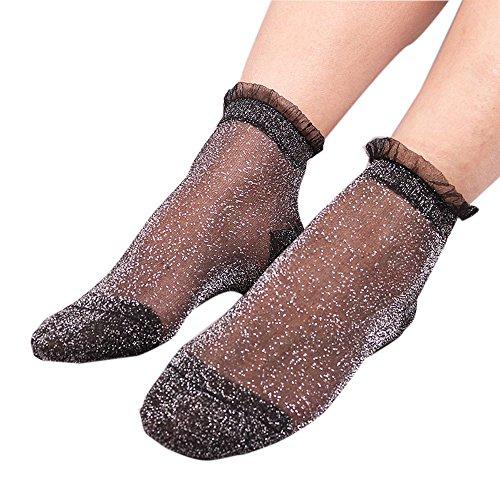 ITISME Socken Sommer Frauen Damen Sheer Silky Glitter Transparente Kurze Strümpfe Söckchen (Rüschen-boot-socken Für Frauen)