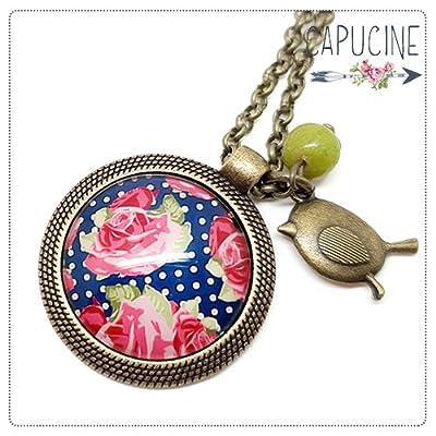 Sautoir Illustré Fleurs Shabby Chic et Pois Rose et Bleu Marine en Métal Bronze avec Cabochon en Verre, Breloque et Perle en Jade