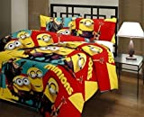 Style Urban Minions Beautiful Kids Cartoon Print Design Poly Cotton Single Bed Size Reversible AC Blanket / Dohar Beautiful Gift Option