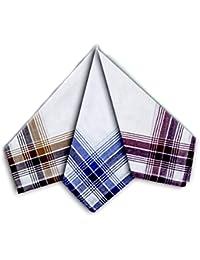 12 Men's Coloured Border 100% Cotton Handkerchiefs