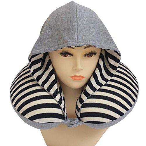 Calcifer® Fashion Stripes Hoodie Hals Reisekissen mit Memory Foam wissenschaftlich nachgewiesener U Form Nackenkissen blau marineblau