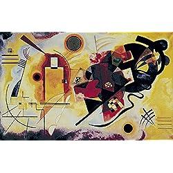 Artland Qualitätsbilder I Fine-Art Kunstdruck Wandbild Gemälde auf Holz - Größe 63 x 39 cm - Muster geometrische Formen Gelb A7WH