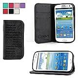 COOVY® Cover für Samsung Galaxy S3 GT-i9300 GT-i9305 Neo GT-i9301 Case Wallet Schutz Etui mit Kartenfach, Standfunktion + Schutzfolie - Design Smile | Farbe schwarz