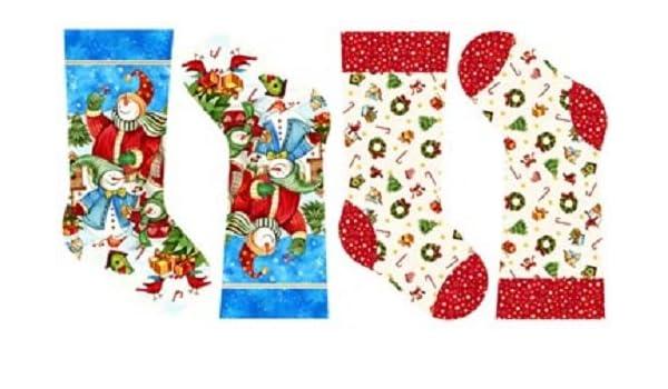 Christmas Holiday Stocking Quilting Fabric Panel Makower 1515 Festive Novelty