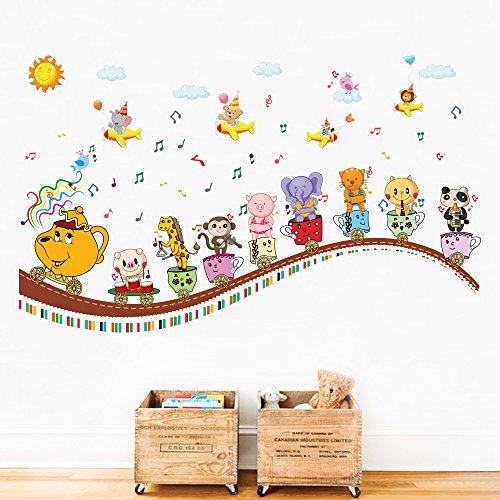 Decalmile animali treno adesivi da parete note musicali adesivi murali bambini decorazioni parete stickers
