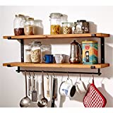 Wandregal Hängende 2 Tiers mit Haken Europäische Loft Retro Style Eisen und Holz Regal, Küche Wand Storage Board Bücherregal Wandbehang Rack-Dekorative Wall Mounted Regal Eckrahmen Schindel Speicherst