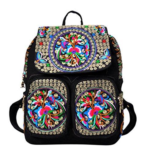 YAANCUN Damen Canvas Rucksack Ethnischen Stickereien Schulrucksack Mädchen Kinderrucksack Daypacks Rucksäcke Outdoor Freizeit Wie das Bild#4