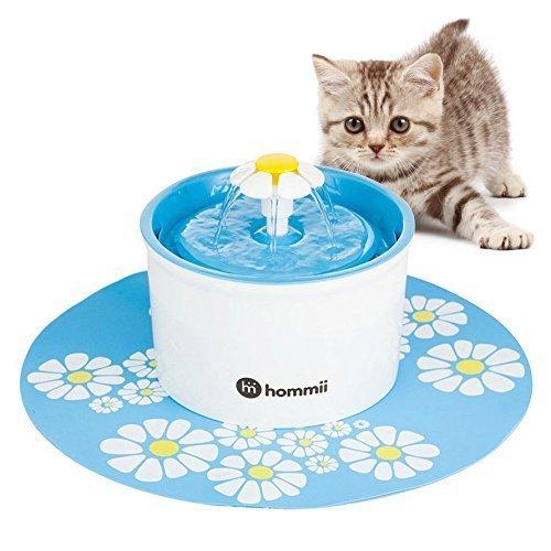 Hommii Haustier Blumentrinkbrunnen für Katzen Automatisch Trinkbrunnen mit Kohlefilter Pet Water Fountain Drinking Blau Grün Orange (Mit Matte, Blau)
