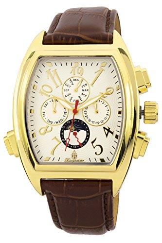 Burgmeister Armbanduhr für Herren mit Analog Anzeige, Automatik-Uhr und Lederarmband - Wasserdichte Herrenuhr mit zeitlosem, schickem Design - klassische Uhr für Männer - BM131-285 Sao Paulo