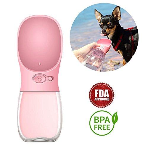 Runfon Portátil Perro Botella de Agua Keeper Mascota Dispensador de Agua Antibacterial Grado Alimentario A Prueba de Fugas Perro Gato Viaje Bebida Botella Botella Mascota al Aire Libre Taza (Rosa)