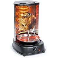 Sohler Electric Rotating Vertical Rotisserie Grill 2000W Black BBQ Kitchen Doner Kebab Chicken Gyros Fish Cooking Vegetable Barbecue Cookware Machine Skewer Cooker