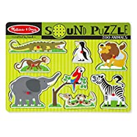 Melissa & Doug Zoo Animals Sound Wooden Puzzle Pieces of 8, Multi-Colour, MD727