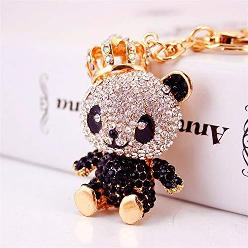 FUWUX Dekoration Strass Krone Panda anhänger Metall schlüsselbund Handtasche Auto Charme schlüsselanhänger Geschenk (schwarz) ziemlich schlüsselring Strass-panda