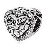 Argent sterling 925Grandma Famille charmes My Love Charm Charm en forme de cœur Fleur Charm pour bracelet à breloques Pandora a
